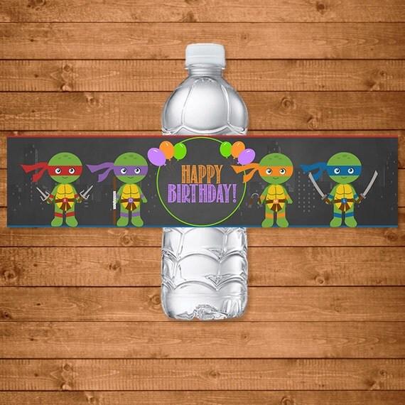 Teenage Mutant Ninja Turtles Drink Label Chalkboard Illustrations -- TMNT Water Bottle Label -- Ninja Turtles Birthday -- TMNT Party Favors