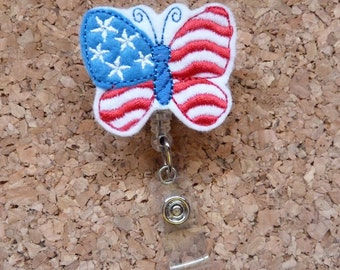 Patriotic Butterfly Badge Reel |  Badge Holders| Retractable Name Holder | Nurse / Teachers / Office Workers |  269
