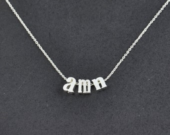 Lowercase Initial Letter Necklace, Tiny Silver Letter Necklace, Personalized Initial Jewelry, Lowercase Letter Charm Necklace