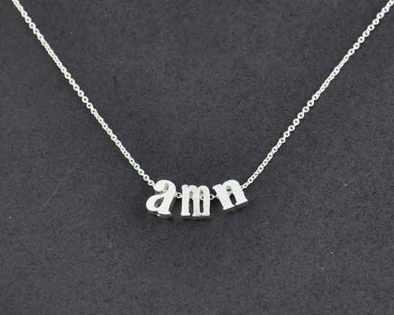 Lowercase initial letter necklace tiny silver by for Lowercase letter necklace