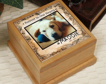 Personalized Photo Memorial Wooden Urn