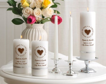 Second Marriage Candle Set , Personalized Candle , Unity Candle set