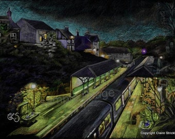Knaresborough Railway Station at Dusk, Yorkshire. Giclee Print of Original Pencil Mixed Media Drawing by English Artist Claire Strickland