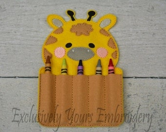 Giraffe Crayon Holder, Toddler Arts and Crafts, Back To School, Travel Case
