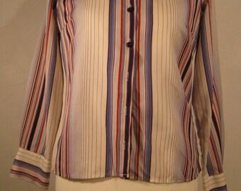 Fabulous vintage stripey shirt, awesome collars, 1970s. UK size 16, US 14, EU 44.