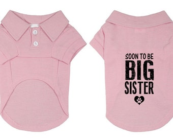Small Dog Polo Shirt. Soon to Be Big Sister Polo Dog Shirt. Pet Clothes. New Baby Gift Idea.
