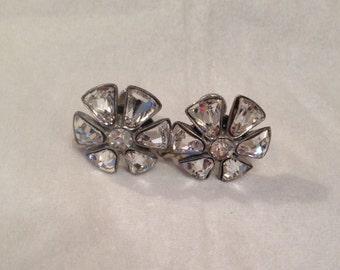 Vintage Crystal Rhinestone Petal Flower Screwback Earrings