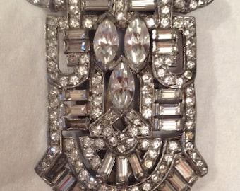 Vintage Art Deco Gatsby Large Rhinestone Glass Crystal Dress Clip Scarf Clip Fur Clip Brooch Clasp