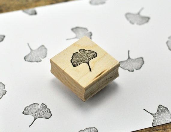 Ginkgo leaf stamp hand carved rubber by geekstamps