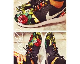 Hawaiian Tropical Floral Nike Roshe Run Custom Sneakers