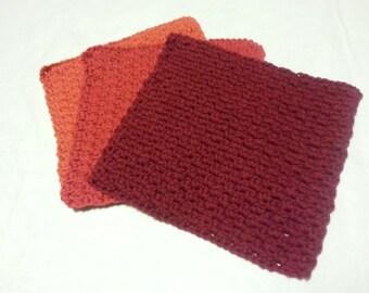 Soft Eco Friendly Cotton Wash Cloth Set / Dish Cloth / Housewarming Gift / Crochet Dishcloth / Maroon Washcloth