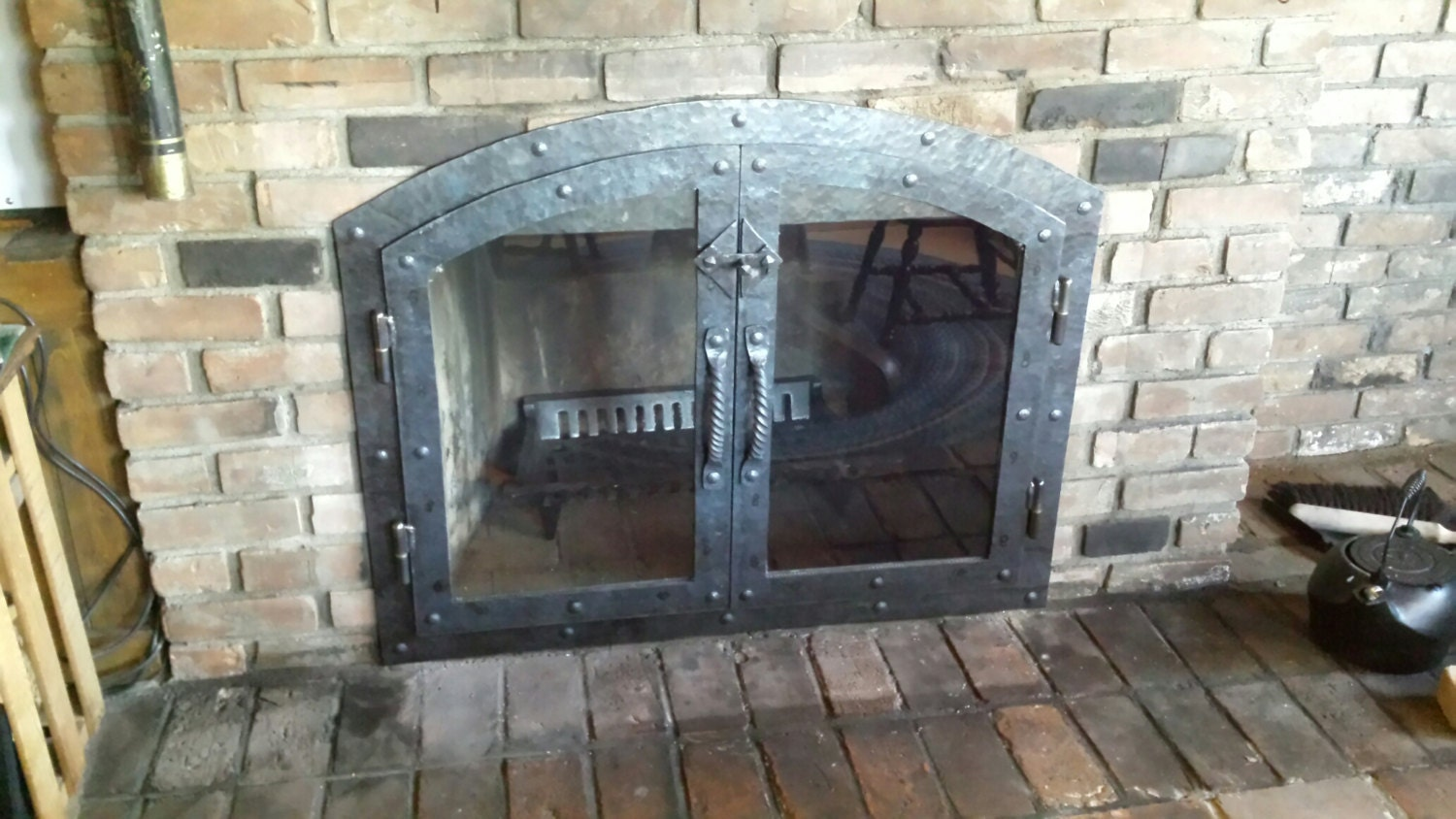 Custom Hammered Iron Fireplace Doors Fireplace Screen Twisted