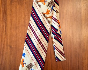 Vintage 1970s Novelty Pheasant Tie by Kings Lynn Birds Hunting Menswear