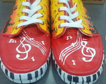 City sounds Music Shoes - Handpainted Custom Shoes - Women's Sneakers
