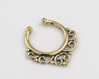Fake Septum Ring. fake septum piercing. brass septum ring. tribal septum ring. faux septum. septum cuff. brass septum. fake septum jewelry.