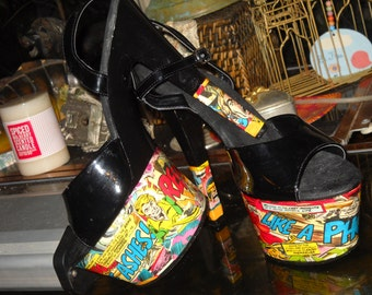 Marvel Comic Pleaser Heels - One of a Kind Upcycled Shoes!!! Size 10