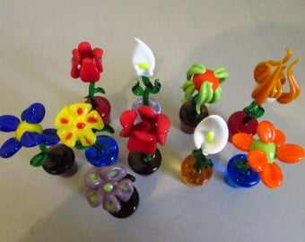 Decorative Flower Handmade in Murano glass in various patterns and colors