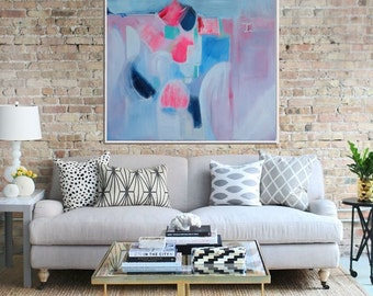 Original painting, Abstract Painting, Abstract Canvas Painting, Modern Art, Contemporary Art, blue, Pink