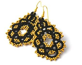 Tatting lace earrings-black and gold, tatting lace, black gold earrings, earrings, earrings lightweight frivolité tatting
