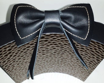 Leather Bow Tie Hair Clip