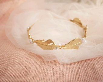 SALE Gold Feather Pearl Headband Flower Girl Headband Bridal Headband #103