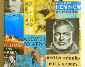 HEMINGWAY - 3x3 miniature collage.  Matted and Framed in 9x9 shadowbox
