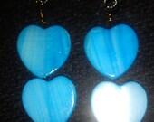 BLUE GENUINE SHELL heart drop earrings