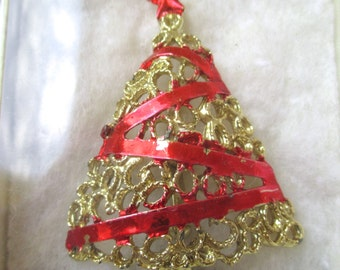 Vintage Caldor Brooch Pin Christmas Tree Original Box