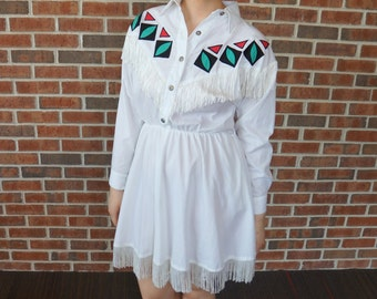 Vintage Tasseled Western Dress // 1980's White Tribal Print Western Dress