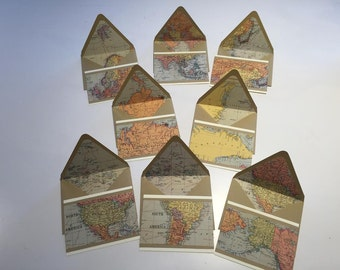 Vintage World Map// Letter Set// Stationery// Deployment Letters// Traveler's Stationery