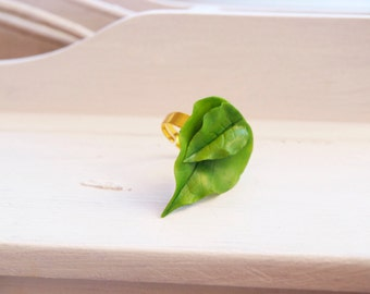 leaf ring, unique rings with leaves, handmade green ring, free shipping