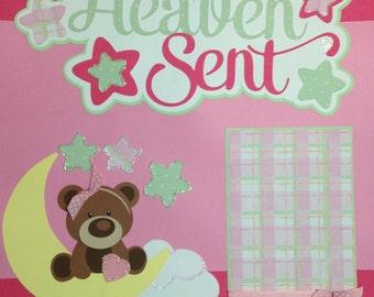 Heaven Sent 12x12 Premade Scrapbook page, Scrapbook Premade Page, 12x12 scrapbook layout, scrapbook kit, layout kit