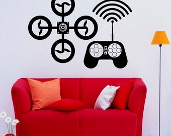 Drone Wall Decal Wall Vinyl Sticker UAV Home Interior Removable Bedroom Decor (4drn)