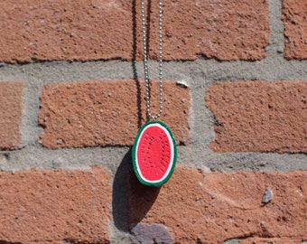 Sweet Pink Watermelon on Ball Chain Necklace