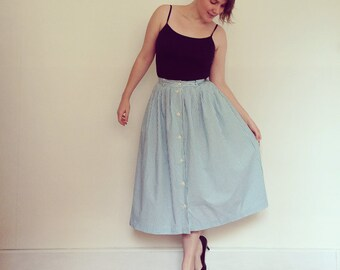 Vintage Skirt / Teal Green and White Stripe Button Front / 1980s