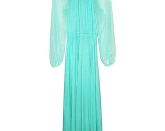Vintage Maxi Dress with sheer Long sleeves 70s Hippie Boho - color light blue size medium