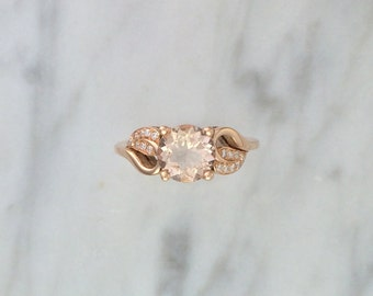 Round Morganite Leaf Ring in 14K Rose Gold w/ Accent Diamonds - Alternative Engagement Ring - Affordable Ring - Petite Ring - Flower Ring