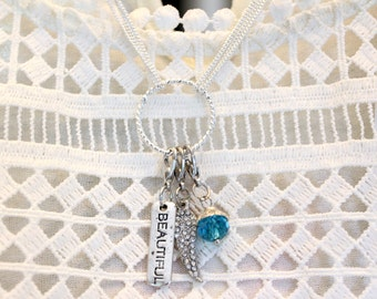 Charm Necklace, Personalized Charm Necklace, Charm Holder Necklace, Charm Holder, Mothers Charm Necklace, Moms Gift, Grandmother Gift