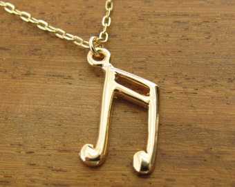 Musical note, gold necklace, gold filled 14k, pendant musical note, charm jewelry, jewelry gift