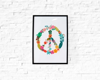 Digital Download // Floral Peace Sign // Motivational Print Inspirational Quote Home Decor Peace Flower Power Woodstock Hippie Wall Art
