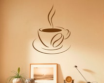 Coffee Cup Wall Decal Coffee House Vinyl Stickers Cafe Interior Home Design Wall Art Murals Window Sticker (10c01f)