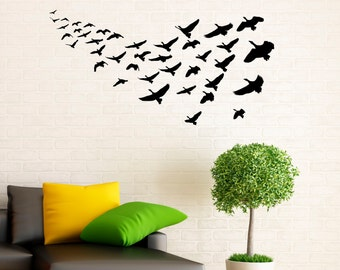 Flying Birds Wall Decal Flock Of Birds Decals Vinyl Stickers Animals Interior Design Art Murals Housewares Bedroom Wall Decor (3b01s)