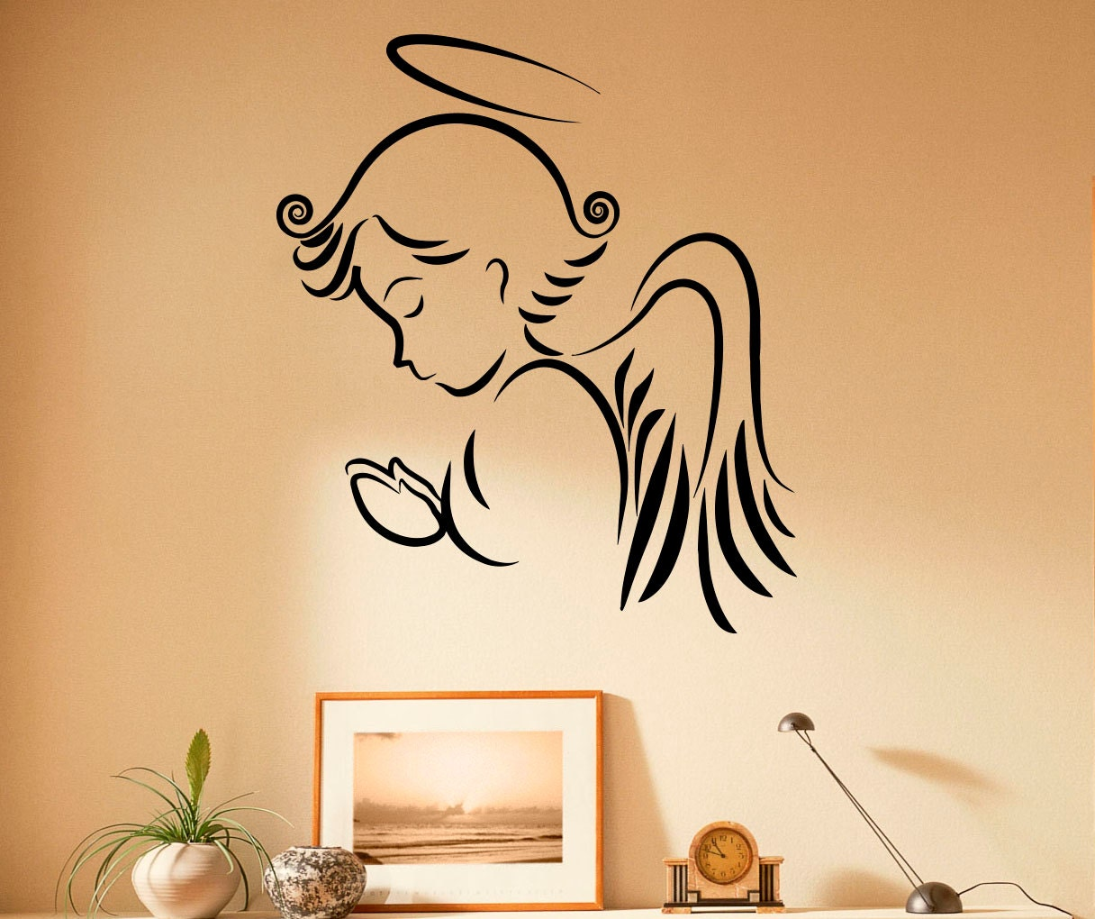Wall Stickers How To Apply Angel Wall Decal Religion Vinyl Stickers Jesus Christ Home