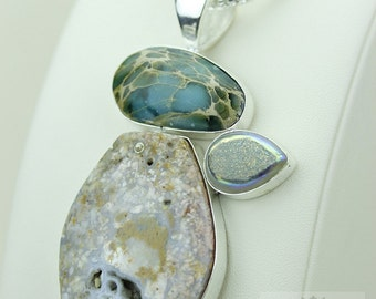 VARISCITE FOSSILIZED OCEAN Jasper Drusy 925 S0LID Sterling Silver Pendant + 4mm Snake Chain & Free Worldwide Express Shipping mp423