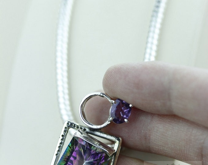 ITALY MADE! 27 CARAT Mystic Topaz 925 S0LID Sterling Silver Pendant + 4mm Snake Chain & Worldwide Express Shipping p1390