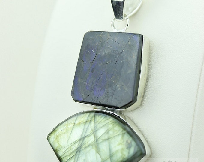 GENUINE Blue Flash Canadian AMMOLITE LABRADORITE 925 S0LID Sterling Silver Pendant + 4mm Snake Chain & Free Worldwide Express Shipping a37