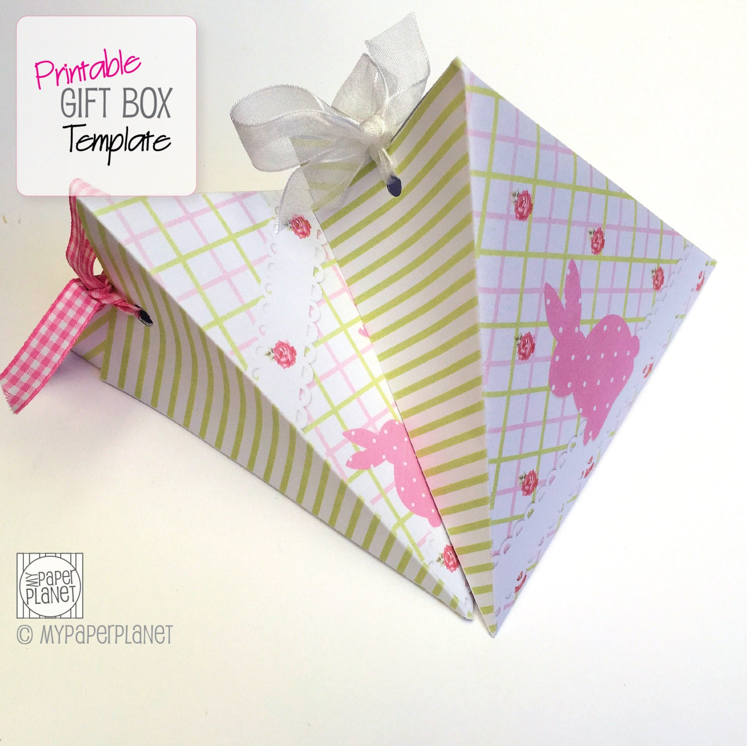 Easter gift box tutorial template craftbnb pink bunny triangle gift box template diy by mypaperplanetcrafts negle Gallery
