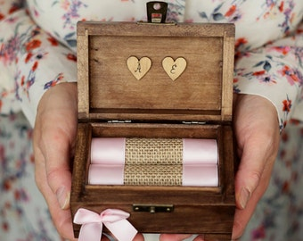 Personalized wedding ring box. Wooden ring box. Ring holder with ribbon in various color. Ring bearer.
