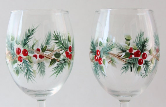 Hand painted wine glass christmas design 10 by for Hand painted wine glass christmas designs