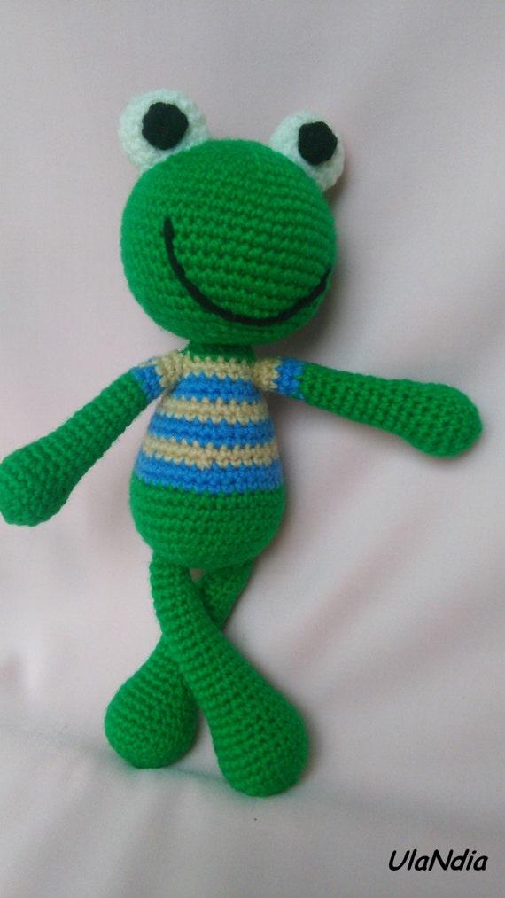 Amigurumi Green Frog : Crochet Frog amigurumi toy Green Frog toy Doll Animal